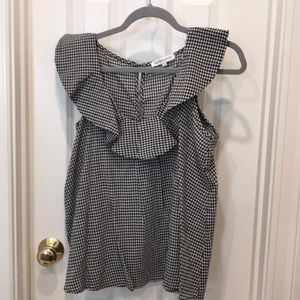 Black and white gingham ruffle top